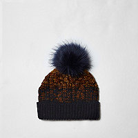 Boys navy and orange ombre knit beanie hat