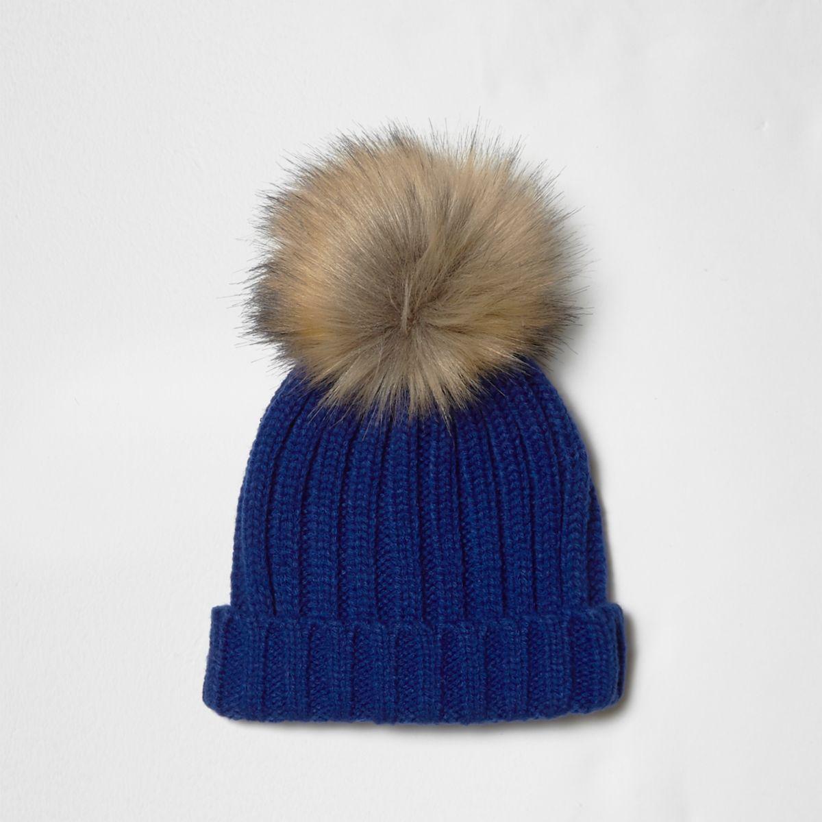 Boys bright blue faux fur top beanie hat