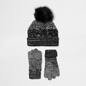 Boys black ombre knit gloves and beanie set