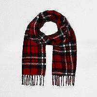 Boys red check scarf
