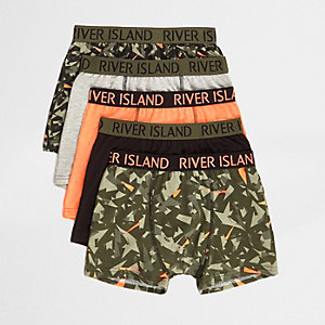 Boys khaki camo trunks multipack