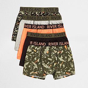 Multipack kaki boxershorts met camouflageprint voor jongens