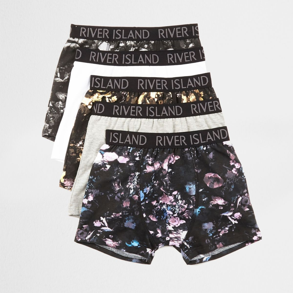 Boys black floral print boxers multipack