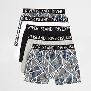 Boys grey floral geo trunks multipack