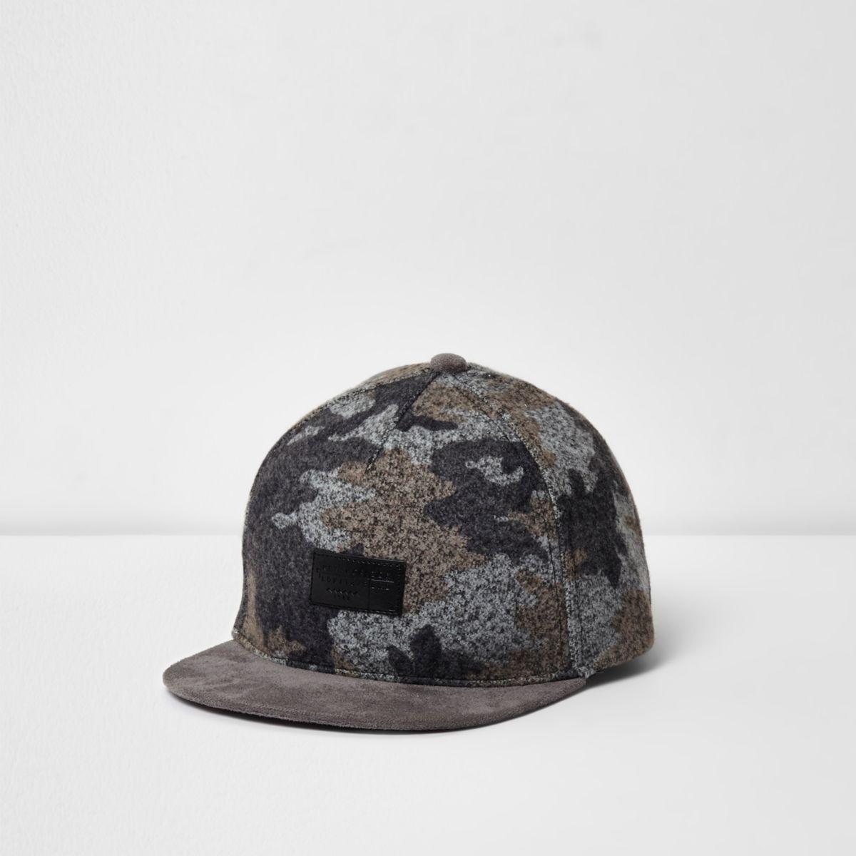 Casquette camouflage grise brossé à visière plate pour garçon