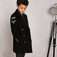 Boys black RI Studio military pea coat