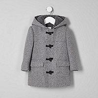Mini boys grey borg lined hood duffle coat