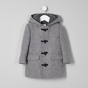Mini boys grey fleece lined hood duffle coat