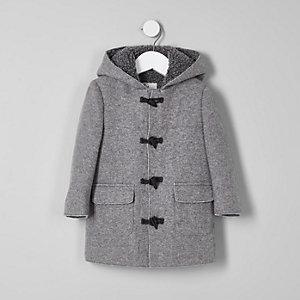 Duffle-coat gris à capuche bordée de peau de mouton mini garçon
