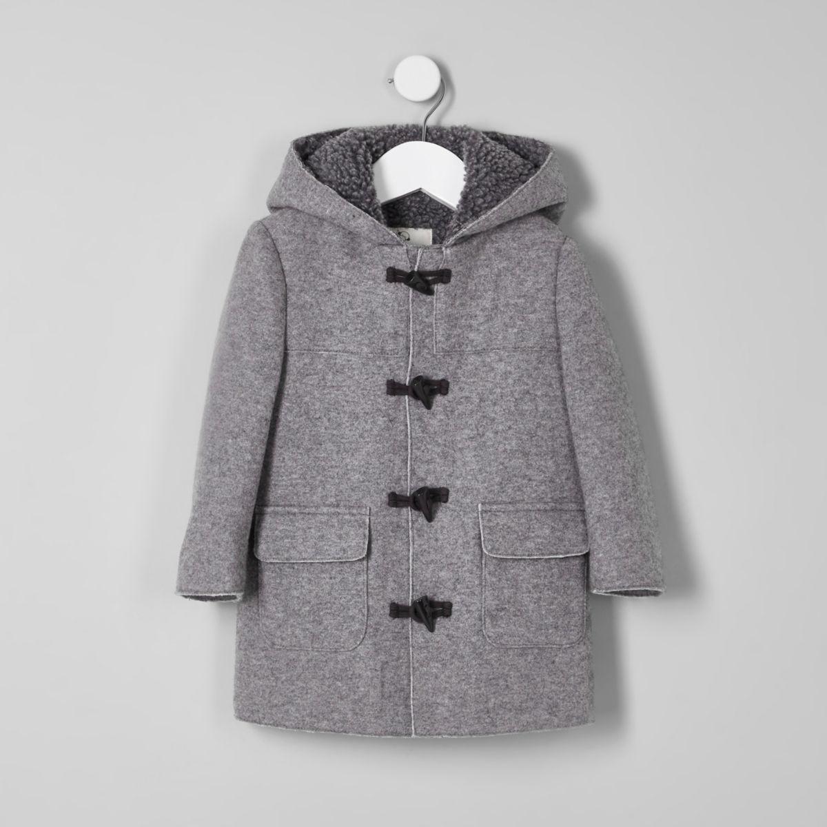 Mini boys grey fleece lined hood duffle coat