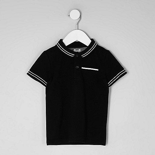 Mini boys black tipped polo shirt