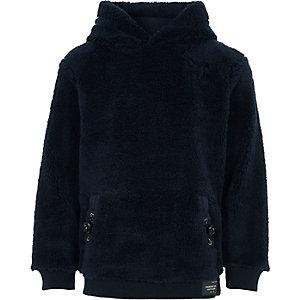 Boys navy borg fleece hoodie
