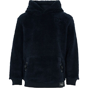 Boys navy fleece fleece hoodie