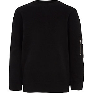 Boys black zip pocket sleeve sweatshirt