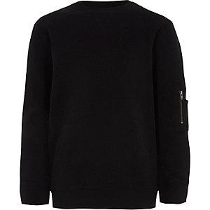 Boys black zip pocket sleeve sweatshirt