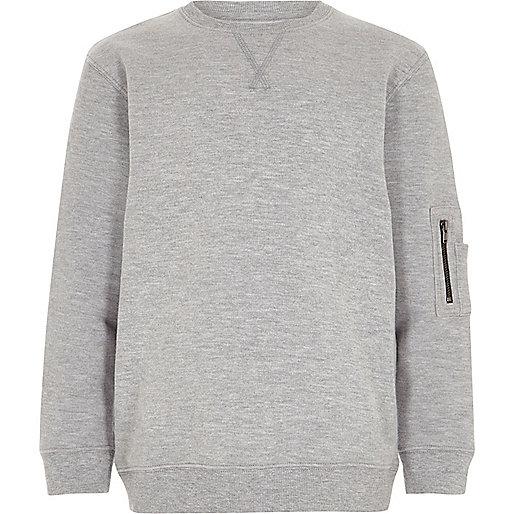 Boys marl grey zip pocket sleeve sweatshirt