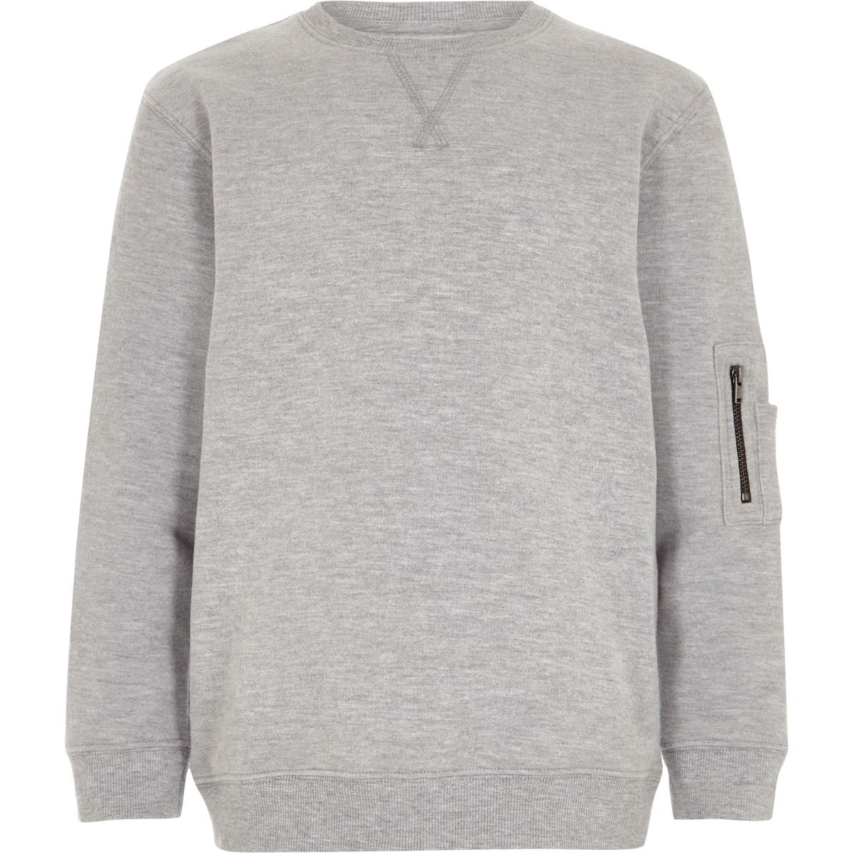 Boys marl grey zip pocket sleeve sweatshirt
