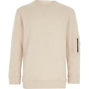 Boys cream zip pocket sleeve sweatshirt