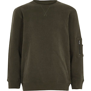 Boys khaki zip pocket sleeve sweatshirt