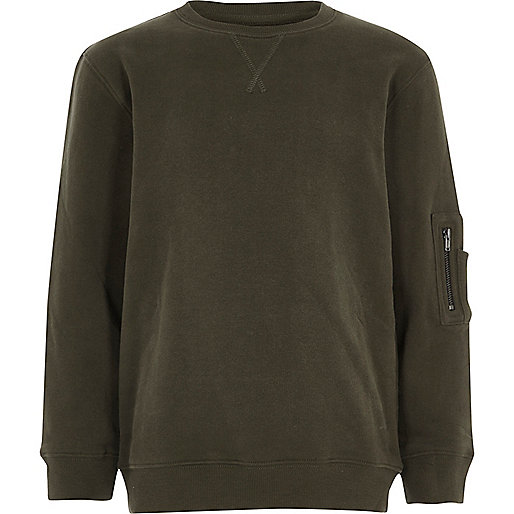 Boys khaki zip pocket sleeve sweatshirt