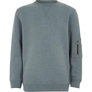 Blauw sweatshirt met zakje met rits op de mouw voor jongens