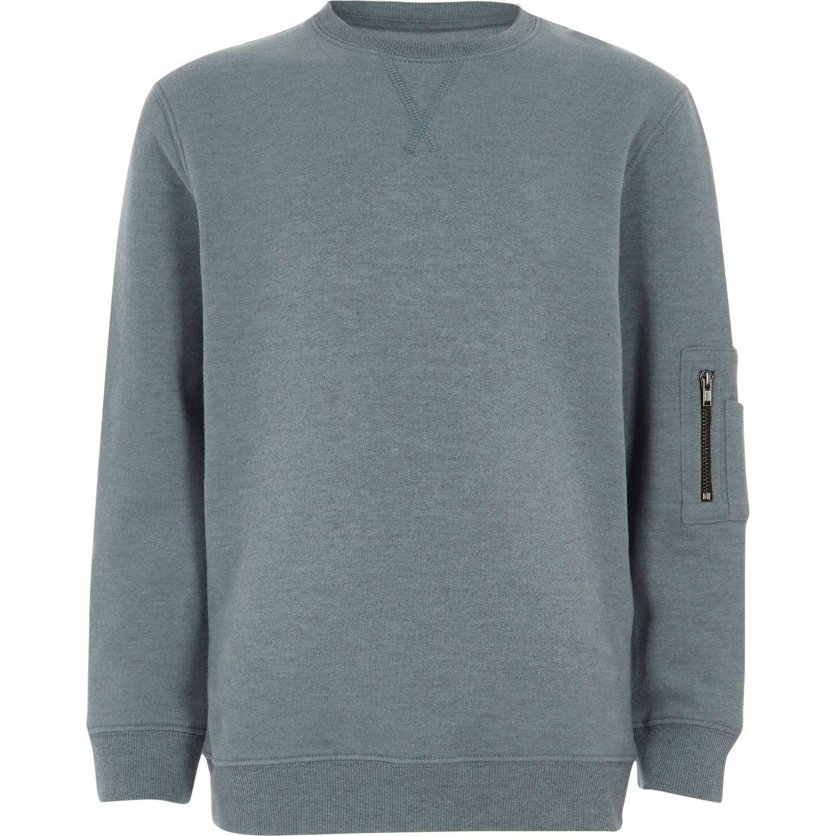 Boys blue zip pocket sleeve sweatshirt