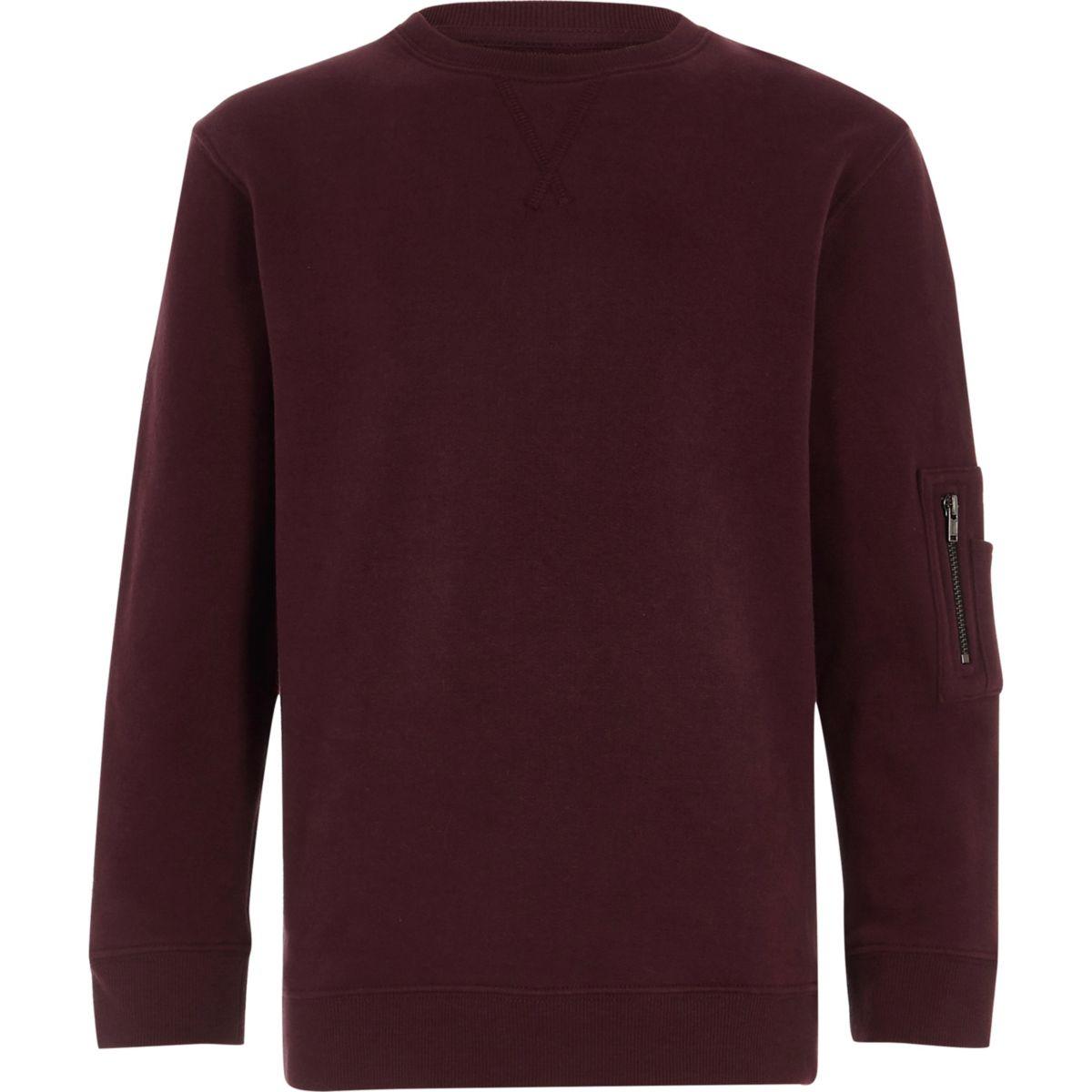 Boys burgundy zip pocket sleeve sweatshirt