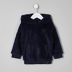 Mini - Marineblauwe borg fleece hoodie voor jongens