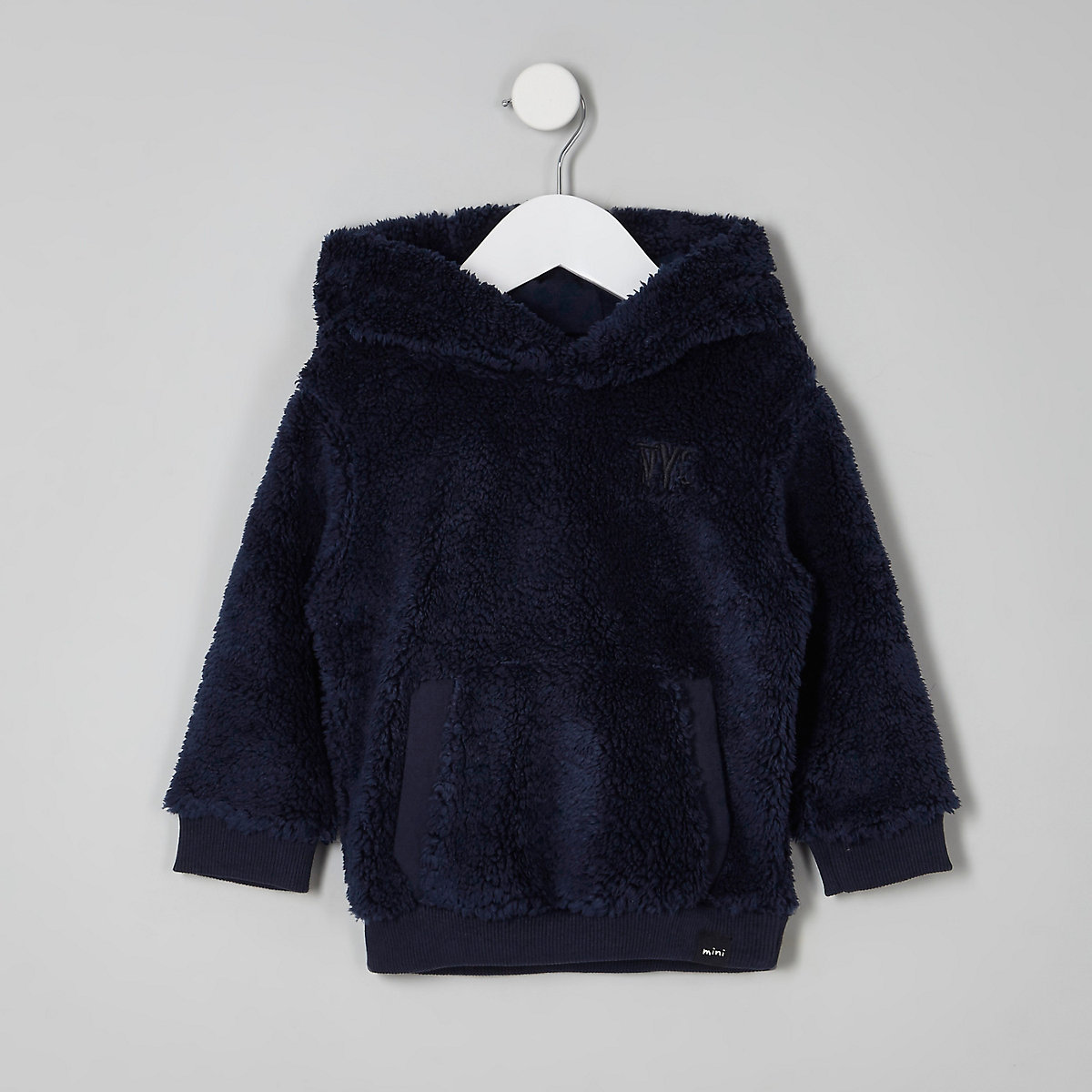 Sweat à capuche imitation mouton bleu marine mini garçon
