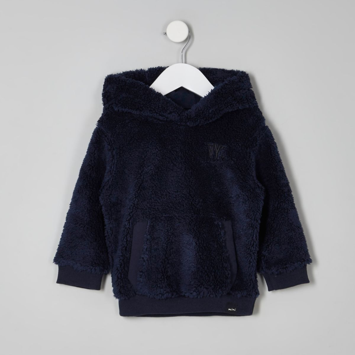 Mini boys navy borg fleece hoodie