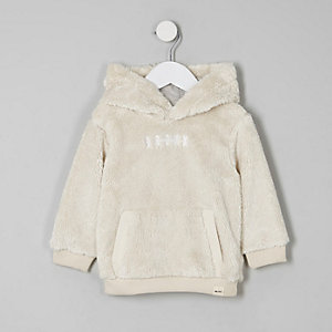 Mini boys Cream borg hoodie