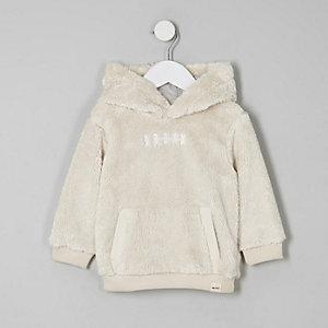 Mini - Crème borg hoodie voor jongens