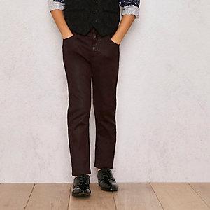 RI Studio – Dunkelrote, beschichtete Skinny Jeans