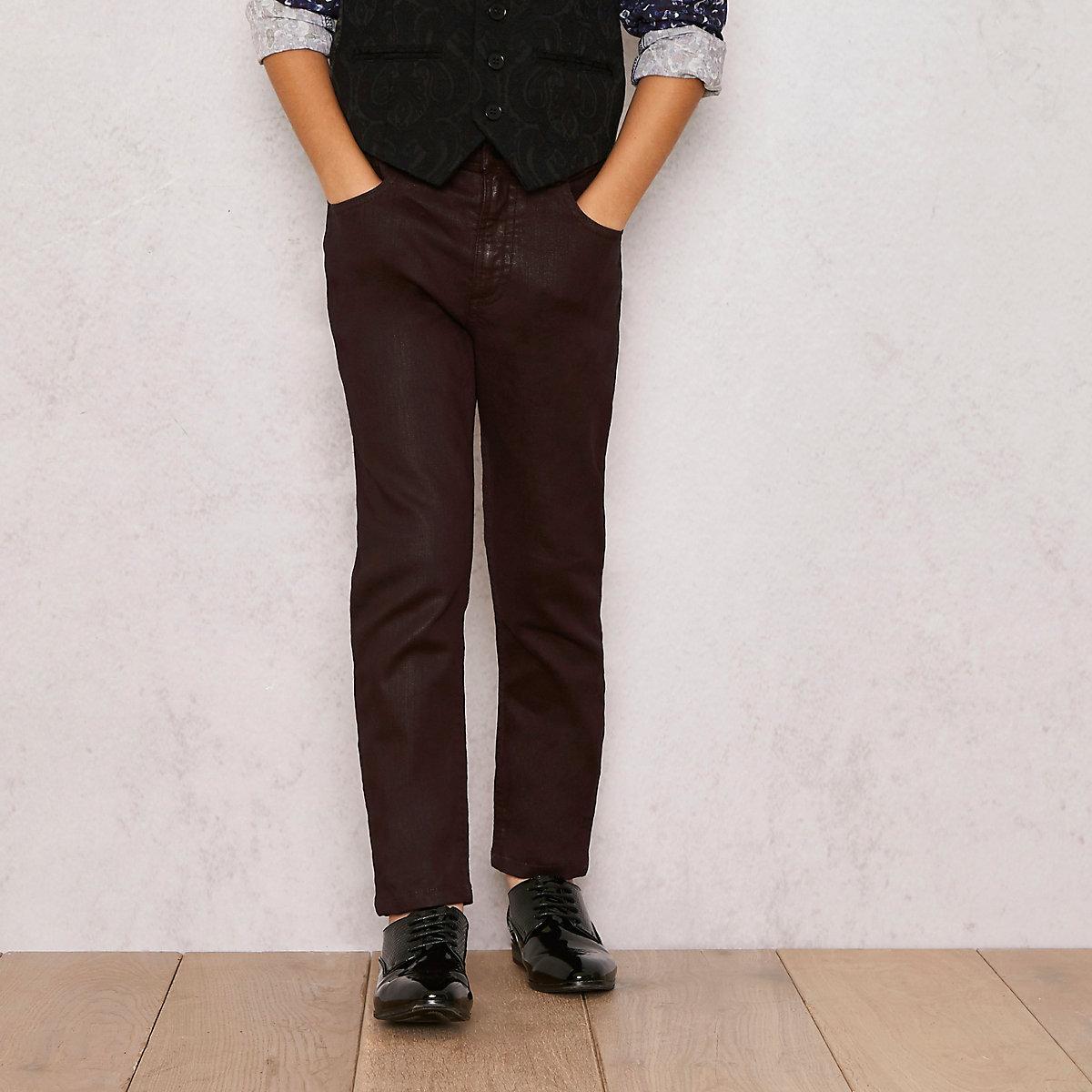 Boys dark red RI Studio coated skinny jeans