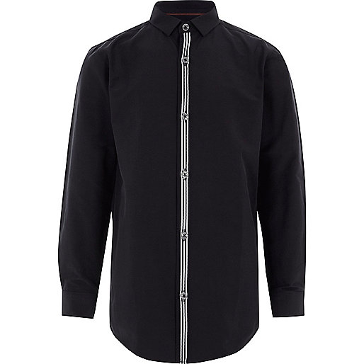 Boys navy stripe button-up long sleeve shirt