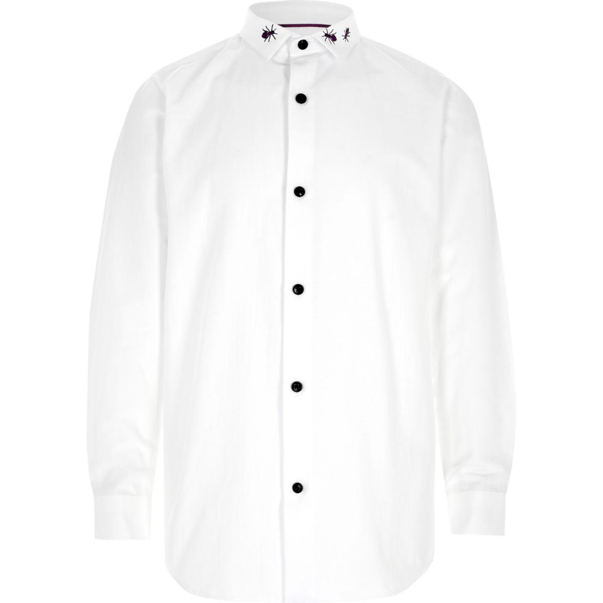 Boys white long sleeve bug collar shirt