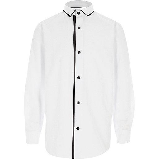 Boys white tipped collar long sleeve shirt
