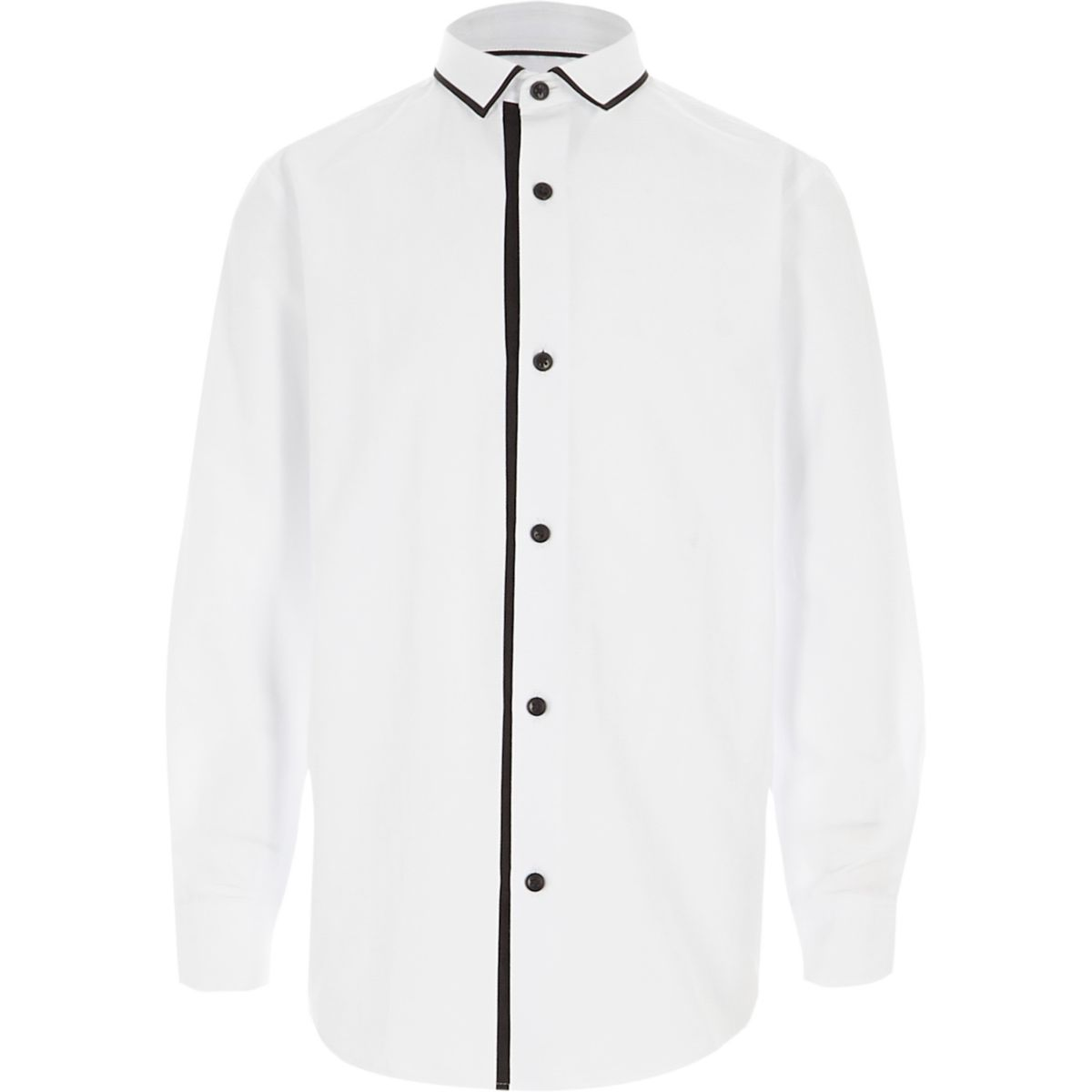 Boys white tipped collar long sleeve shirt