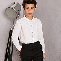 Boys white RI Studio grandad shirt