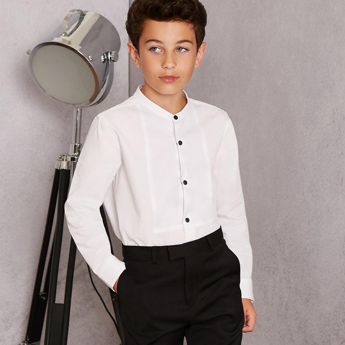Boys white RI Studio grandad shirt