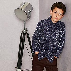 RI Studio - Marineblauw overhemd met bloemenprint en lange mouwen voor jongens