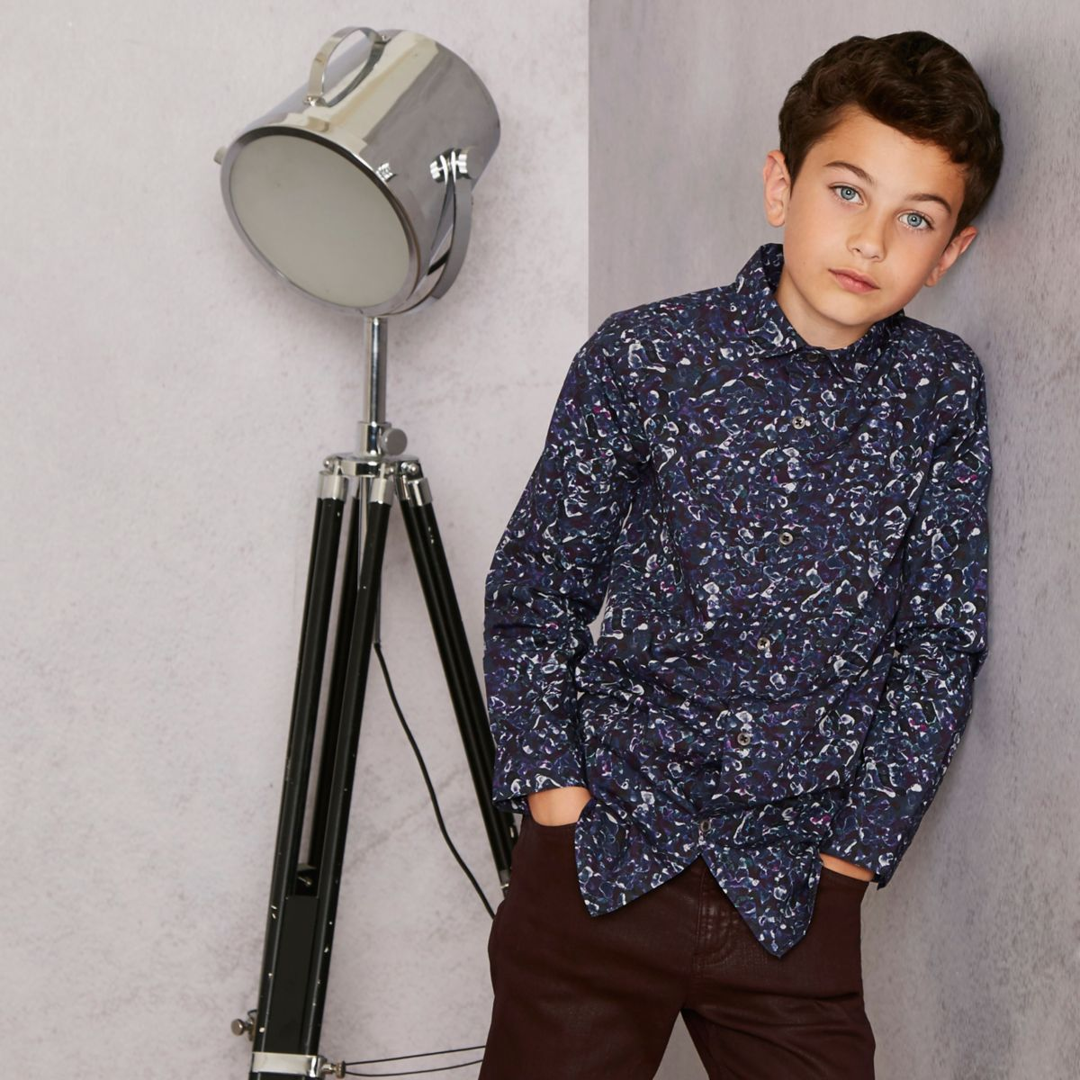 Boys RI Studio navy floral long sleeve shirt
