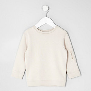 Mini boys cream sleeve pocket sweatshirt