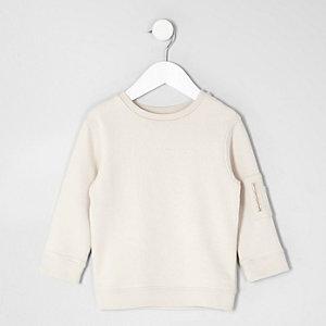 Mini - Crème sweatshirt met zakje op de mouw voor jongens