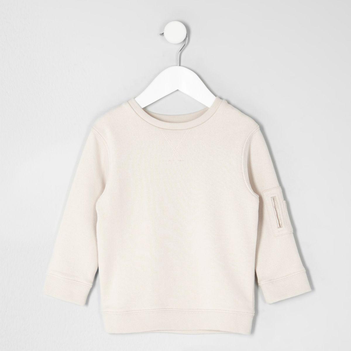 Mini boys cream sleeve pocket sweatshirt