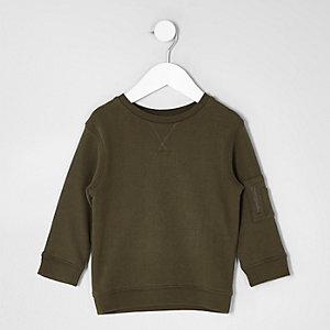 Mini - Kaki sweatshirt met zakje op de mouw voor jongens