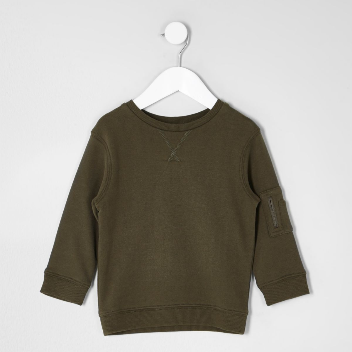 Mini boys khaki sleeve pocket sweatshirt