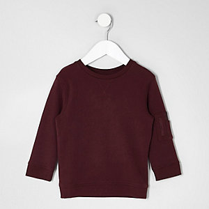 Mini boys burgundy pocket sleeve sweatshirt