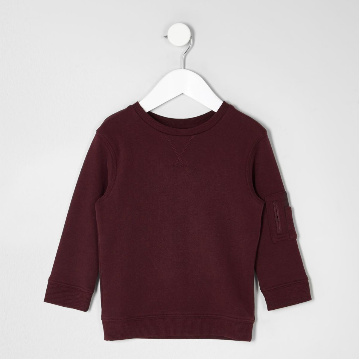 Mini boys burgundy pocket sleeve sweatshirt