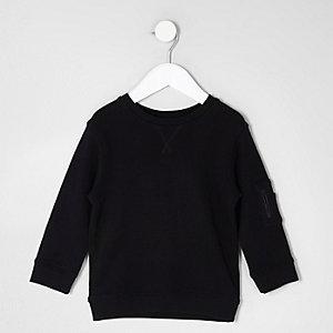 Mini - Zwart sweatshirt met zakje op de mouw voor jongens